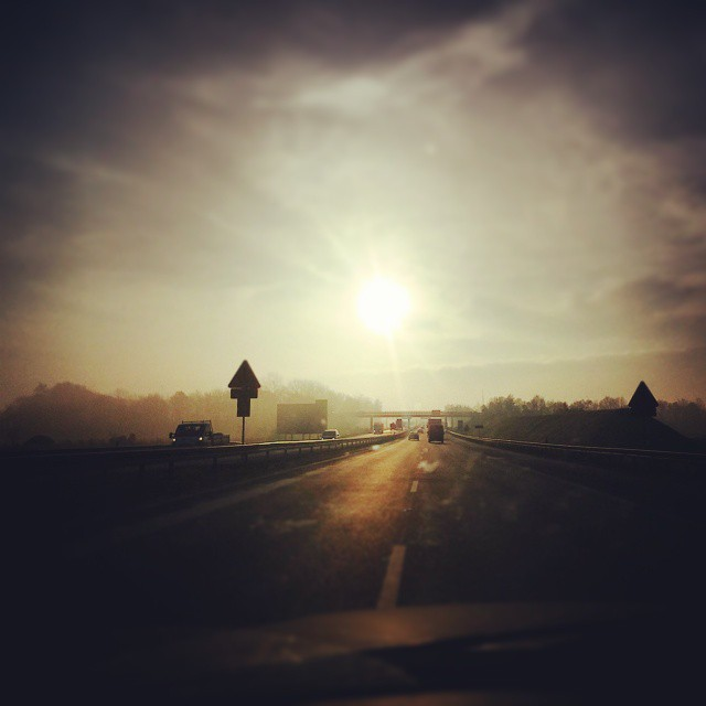 On the road again.Takie tam, w drodze do pracy ;) #road #sun #droga #A4 #jesien
